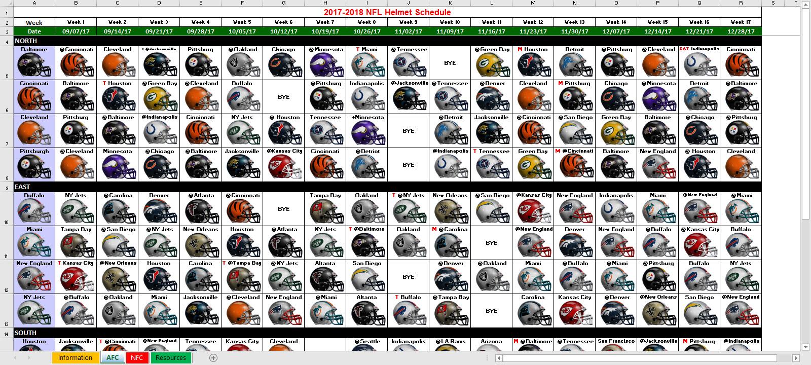 Excel Spreadsheets Help: 2017 NFL Helmet Schedule Spreadsheet