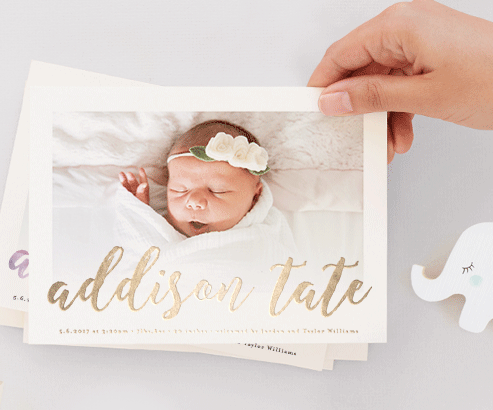 The Lady Okie Js Custom Foil Birth Announcement from Minted – Unique Birth Announcement Cards