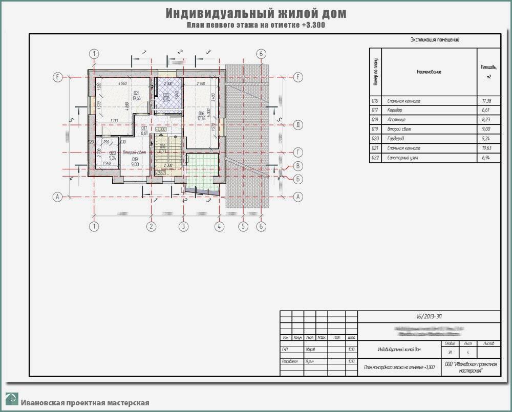 Проект жилого дома в пригороде г. Иваново - д. Ломы Ивановского р-на. План мансардного этажа