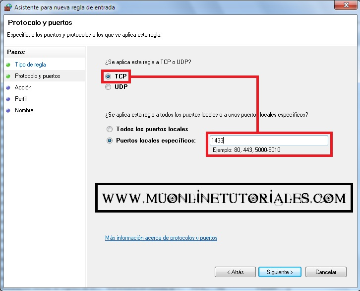 Visualizando la interfaz del firewall en Windows 7