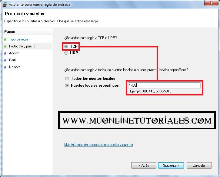 Visualizando la interfaz del firewall en Windows 7