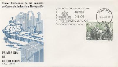 Sobre PDC del sello del Centenario de las Cámaras de Comercio, Industria y Navegación emitido en abril de 1986
