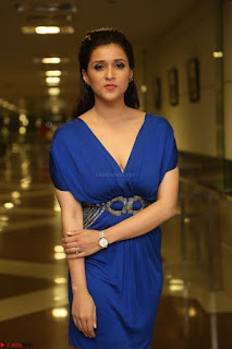 Mannara Chopra in Short Blue Dress at Rogue Movie Teaser Launch 1st March 2017 049.JPG