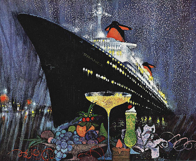 a Bob Peak illustration of a cruise ship