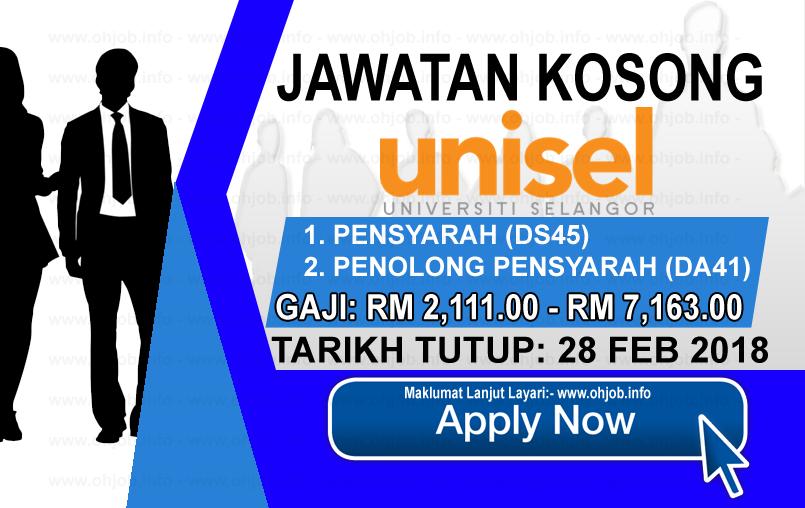 Jawatan Kerja Kosong Universiti Selangor - UNISEL logo www.ohjob.info februari 2018