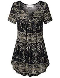 Buy Women's Short Sleeve V Neck Pleated Tunic Shirt