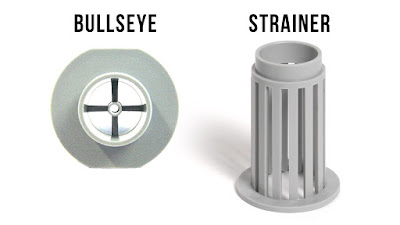 Hydro sponge filter strainer and bulls eye