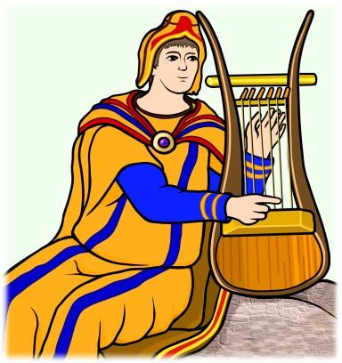 竪琴を演奏するギリシャ神話のオルフェウス