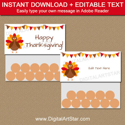 Thanksgiving Bag Toppers to use as party favors
