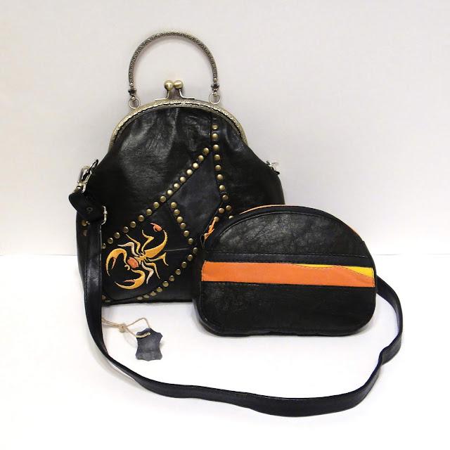 Авторская сумка через плечо Вышитый скорпион - ручная работа, единственный экземпляр
