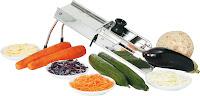 Feliator pentru legume tip 'Mandoline', model solid, din otel inoxidabil, cu 3 lame si tava 115x400 mm