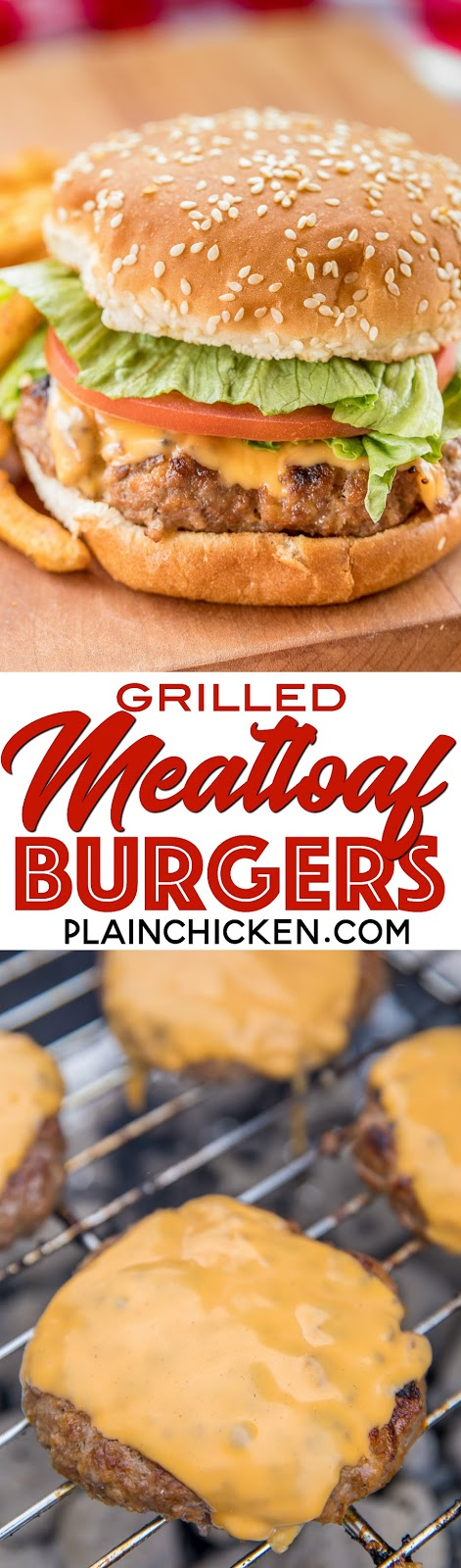 Grilled Meatloaf Burgers - AMAZING burgers! Ground beef, ketchup, mustard, onion, bread crumbs, milk and Worcestershire sauce. Can make ahead and freeze for later. We ate these burgers twice in one day. SO good!!! #burgers #grilling #hamburgerrecipe