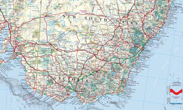 Mapa  da região de Camberra - Austrália