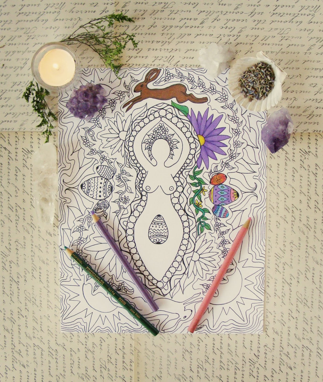 Since Ostara Is Right Around The Corner I Decided To Have A Giveaway For My Spring Goddess Mandala Coloring Page