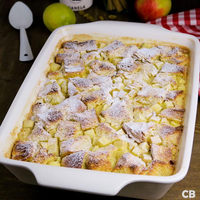 Recept Briochepudding met appeltjes en rozijnen