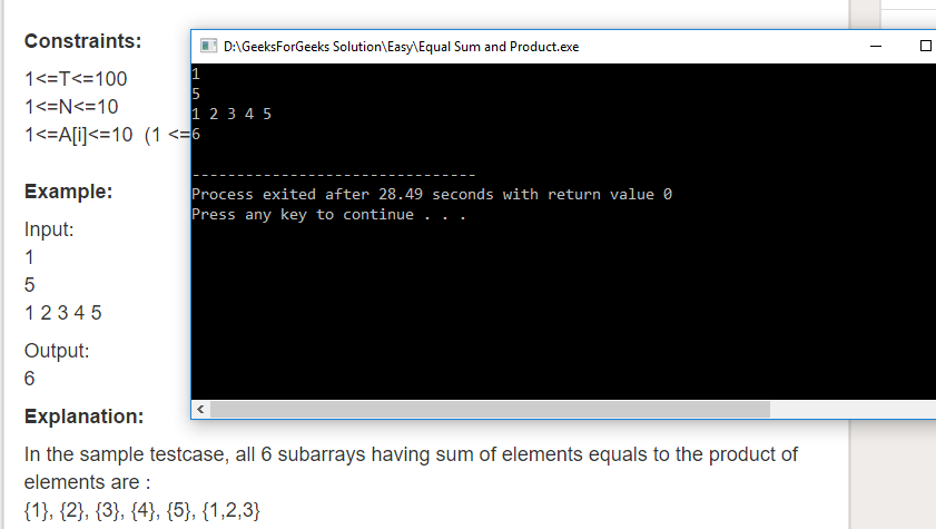 "Geeksforgeeks Solution For "" Equal Sum and Product """