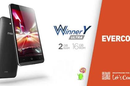 EVERCOSS Winner Y Ultra, 2Gb RAM dan 1.2GHz Quad core Dengan Harga 1jutaan