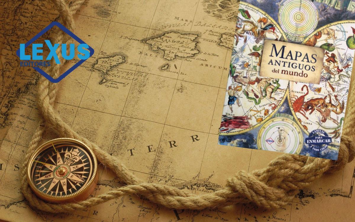 Excepcional Mapa Del Mundo Antiguo Enmarcado Fotos Composición ...