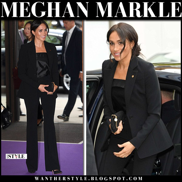 Meghan Markle in black pantsuit altuzarra and black camisole royal family fashion september 4