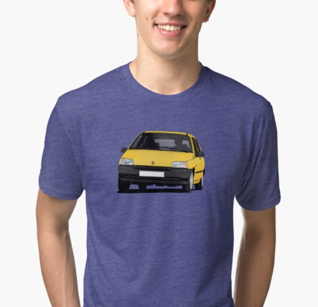 Redbubble yellow Renault Clio illustration on t-shirt