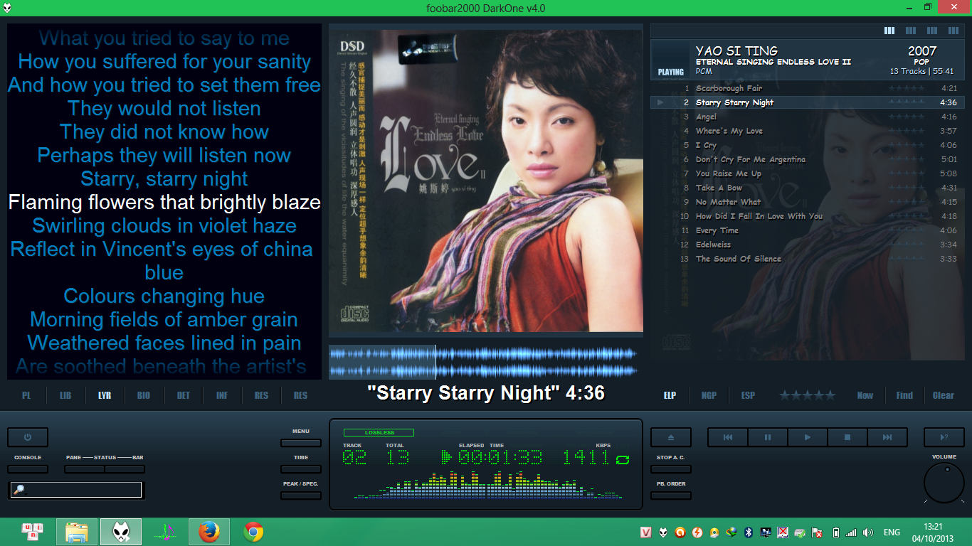 Software: Foobar2000 DarkOne v4 0
