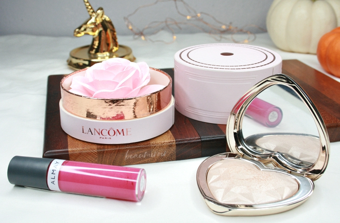 hated makeup products I love: Lancome La Rose a Poudrer, Too Faced Light highlighter, almay color + care liquid lip balm