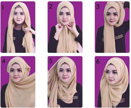 Tutorial hijab segi empat modern dan simple