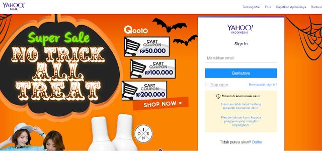 Halaman Sign In Yahoo Mail dipenuhi dengan Iklan