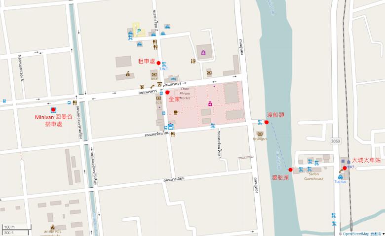 大城交通區域地圖,要注意的是交通工具位置,向當地人確定會比較穩妥