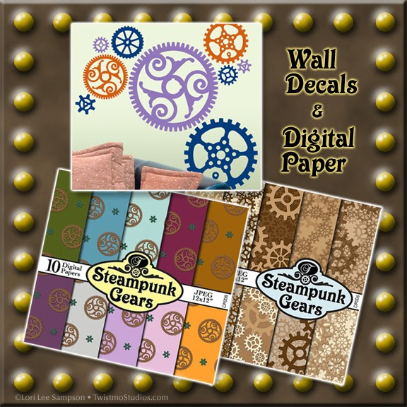 Steampunk Wall Decals & Digital Scrapbooking Paper