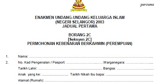 Contoh Surat Nikah Pahang Contoh Surat
