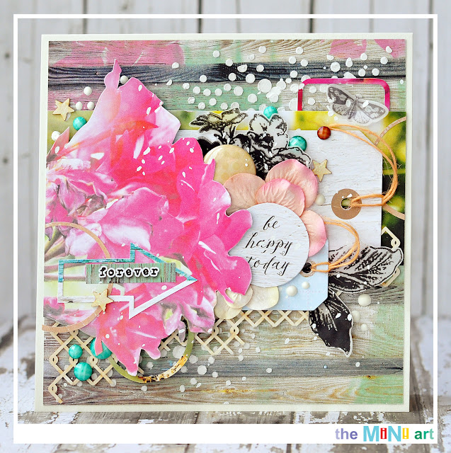 be happy today |The Mini Art DT @akonitt #by_marina_gridasova #card #7dots #7dotsstudio #theminiart #chipboard