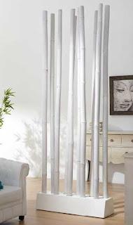 separador de ramas blanco, ramas de bambu blancas, biombo ramas blanco