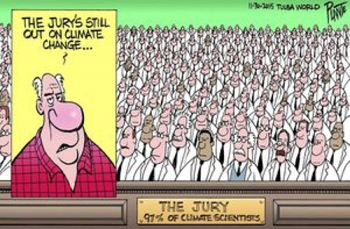 Toon of the Week - The Jury's Still Out on Climate Change / The Jury: 97% of Climate Scientists  Click to Enlarge.