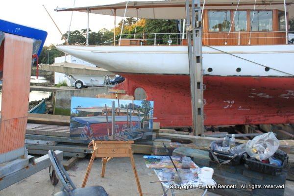 oil  painting by artist Jane Bennett of Sydney Heritage Fleet boat 'Boomerang'  Noakes Shipyard, Berry's Bay