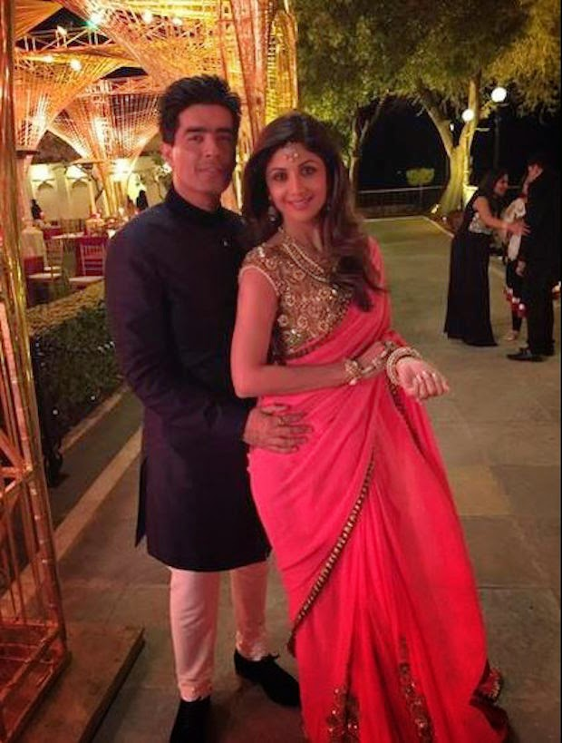 Designer Manish Malhotra with Shilpa Shetty Kundra in a stunning outfit
