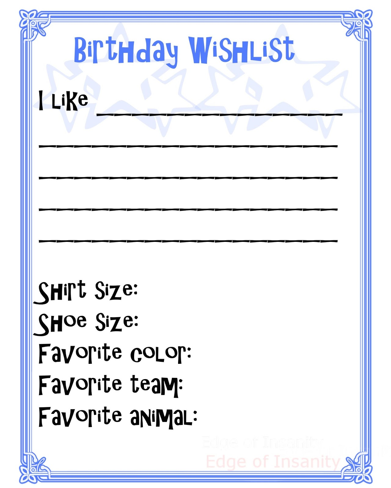 Edge Of Insanity Free Birthday Wishlist Printable