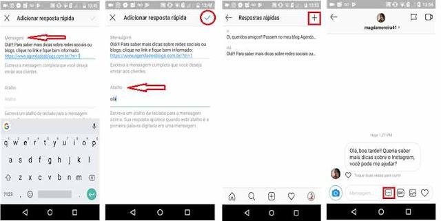 Instagram: Criando resposta rápida para o Direct