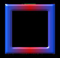 Moldura quadrada azul vermelho - criação Blog PNG-Free