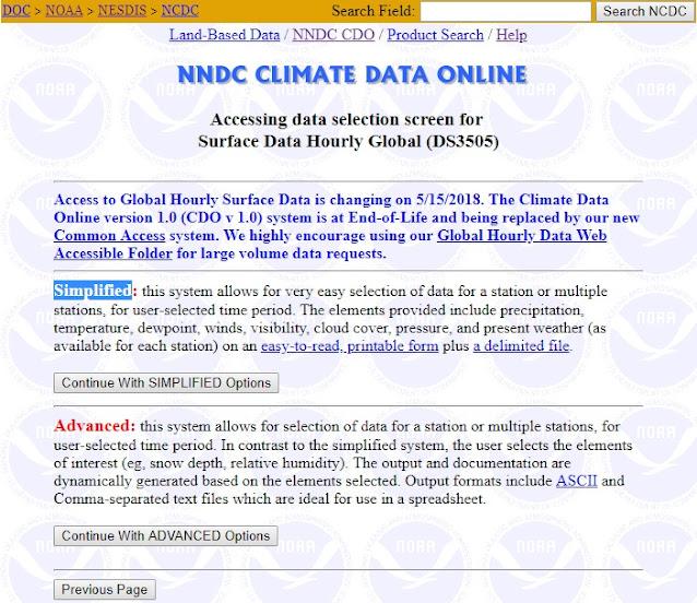 Mengakses data iklim dunia - pilihan data perjam