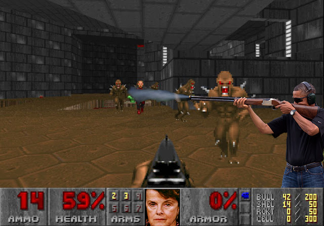 Doom, Dianne Feinstein, guns, video games, Barack Obama, violence, violent