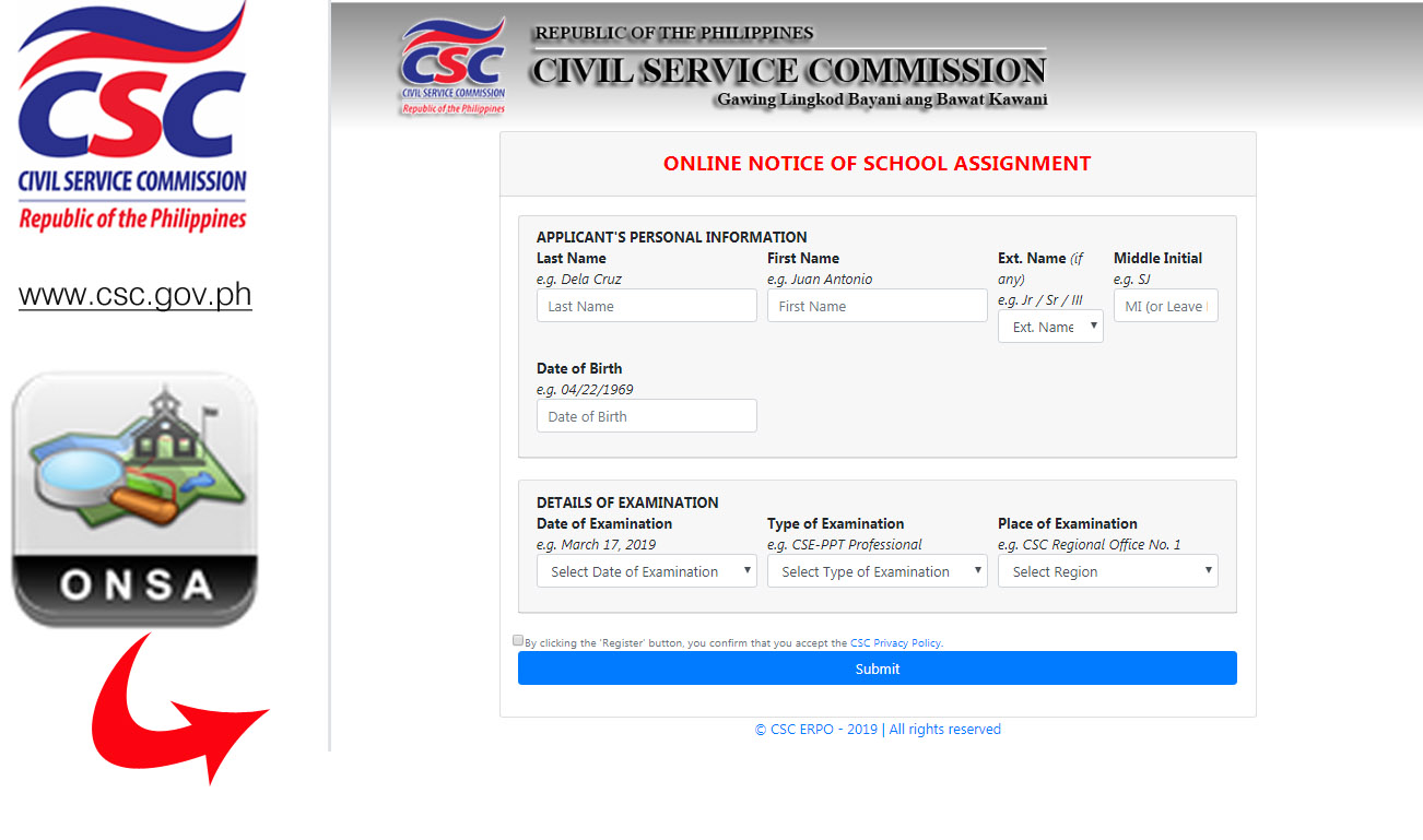 Civil Service Exam PH: Online Notice of School Assignment (ONSA) for