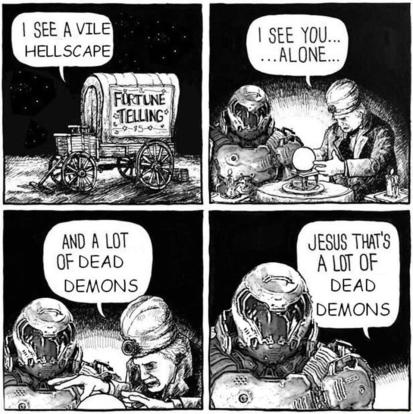 Quando o macumbeiro foi ler o futuro do Doomguy