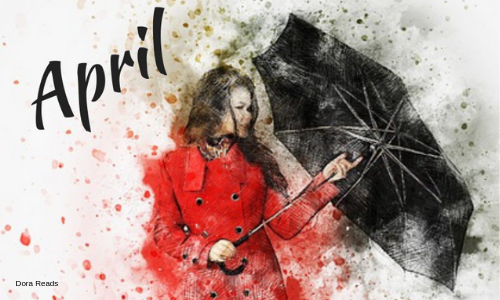 April title image with artsy girl in red coat holding an umbrella