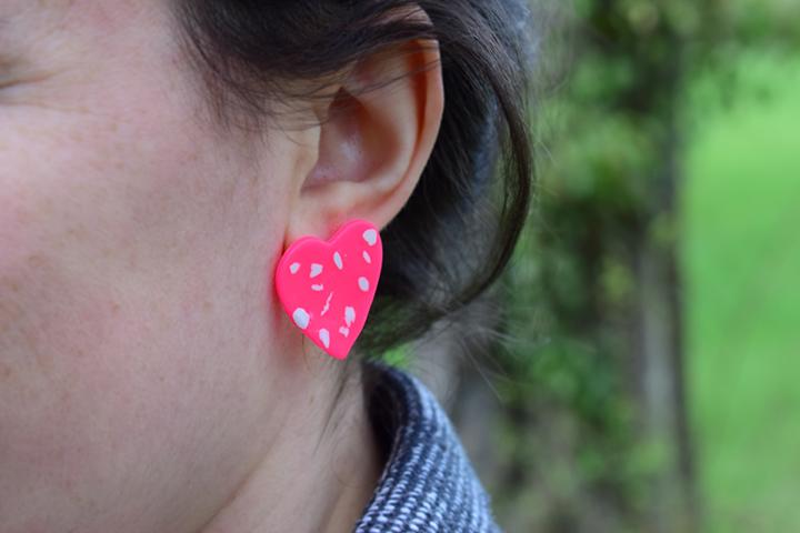 tutoriel boucles d'oreilles coeur pâte cernit