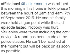 basketmouth armed robbery attack