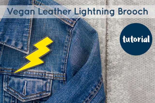 Vegan Leather Lightning Bolt Brooch on a Denim Jacket
