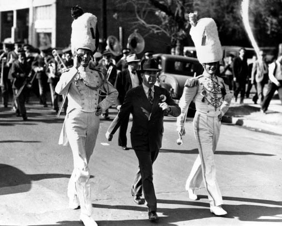 Senator Huey Long marched with the band before the 1934 Mississippi State game.