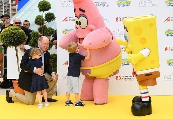 Prince Albert, Prince Jacques and Princess Gabriella attended the 20 year anniversary of Sponge Bob Squarepants