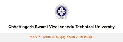 CSVTU MBA Sem 5 result 2016